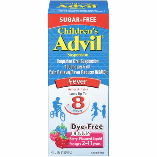 Advil Children's Berry-Flavored Pain Reliever Fever Reducer Liquid Suspension Perspective: front