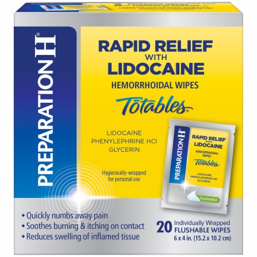 Preparation H Rapid Relief Lidocaine Totables Hemorrhoidal Flushable Wipes Perspective: front