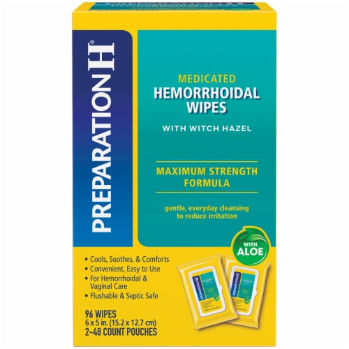 Preparation H Medicated Hemorrhoidal Wipes with Aloe Perspective: front