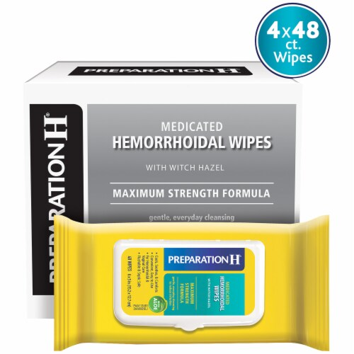 Preparation H Maximum Strength Hemorrhoidal Medicated Wipes with Aloe Perspective: front