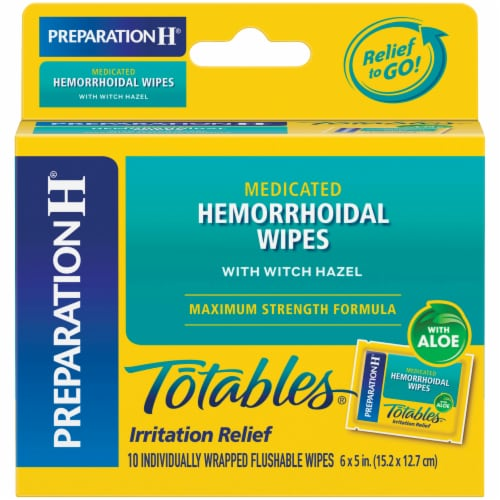 Preparation H Totables Flushable Medicated Hemorrhoidal Wipes Perspective: front