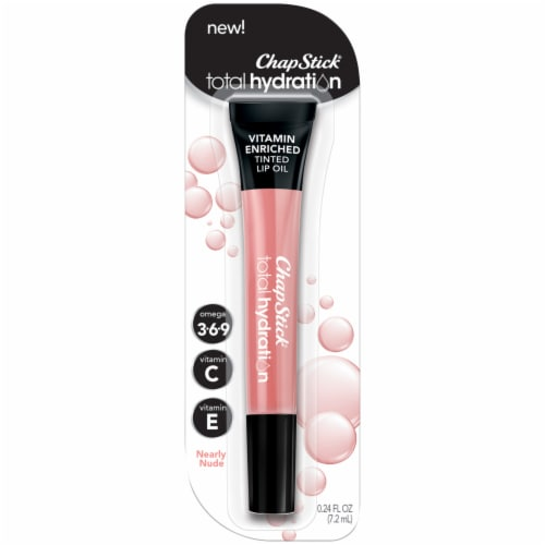 ChapStick Total Hydration Vitamin Enriched Nearly Nude Tinted Lip Oil Perspective: front
