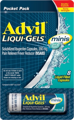 Advil Liqui-Gels Minis Pain Reliever & Fever Reducer 200mg Capsules Perspective: front
