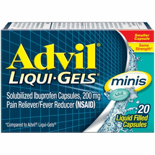 Advil Liqui-Gels Minis Pain Reliever/Fever Reducer Ibuprofen Liquid Filed Capsules 200mg Perspective: front