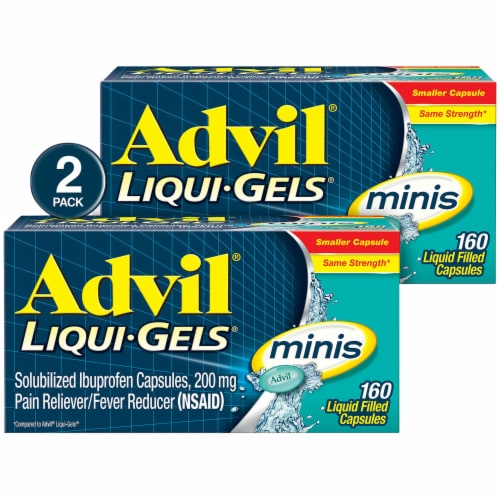 Advil Liqui-Gels Minis Pain Reliever Capsules 200mg (2 Pack) Perspective: front