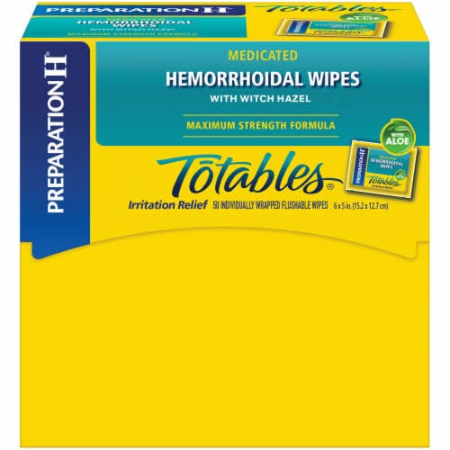 Preparation H Totables Medicated Hemorrhoidal Wipes 50 Count Perspective: front