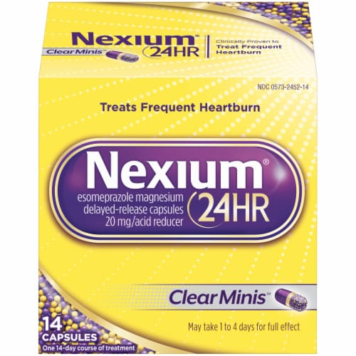 Nexium 24-Hour Delayed-Release Acid Reducer Clear Mini Capsules Perspective: front