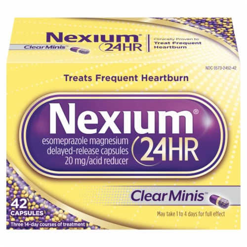 Nexium 24-Hour Clear Minis Delayed Release Heartburn Relief Capsules Perspective: front