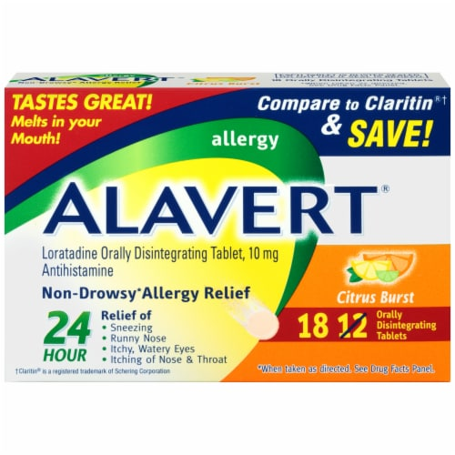 Alavert Citrus Burst Non-Drowsy Allergy Relief Orally Disintegrating Tablets Perspective: front