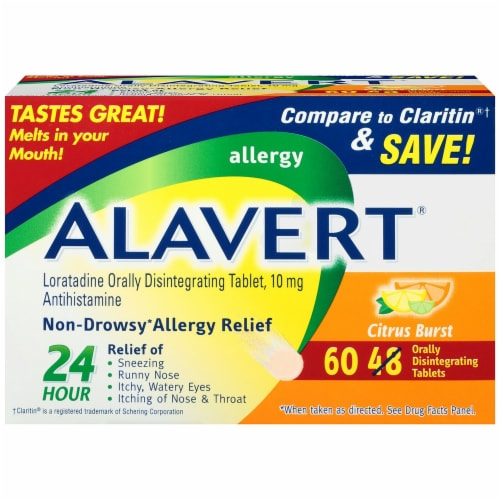 Alavert 24-Hour Non-Drowsy Allergy Relief Citrus Burst Orally Disintegrating Tablets Perspective: front