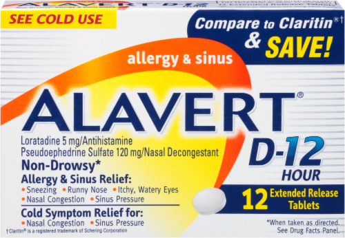 Alavert 12-Hour Non-Drowsy Allergy & Sinus Relief Extended Release Tablets Perspective: front