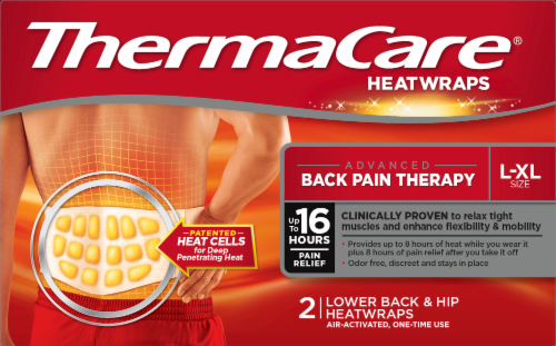 ThermaCare Advanced Back Pain Therapy Large/Extra Large Lower Back and Hip HeatWraps Perspective: front