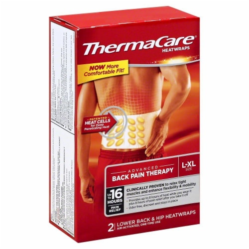 ThermaCare L/XL Lower Back & Hip Heatwraps Perspective: front