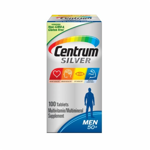 Centrum Silver Men 50+ Multivitamin Supplement Tablets Perspective: front