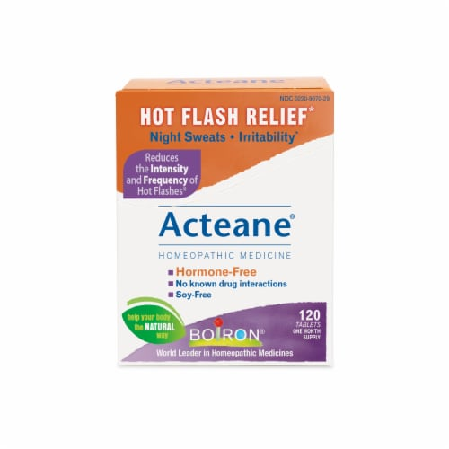Boiron Homeopathic Acteane Hot Flash Relief Tablets 120 Count Perspective: front