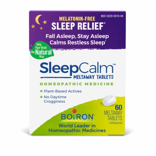 Boiron SleepCalm Sleep Relief Melt Away Tablets Perspective: front