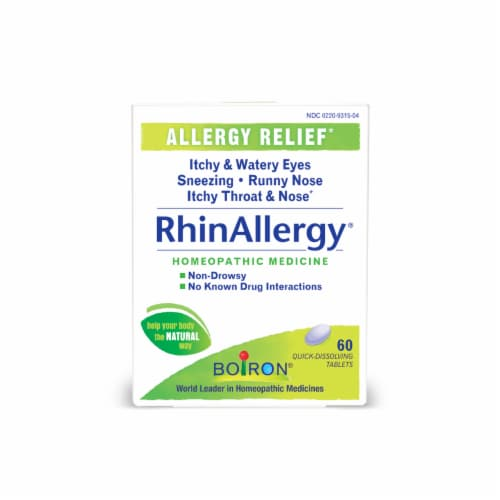 Boiron RhinAllergy Allergy Relief Homeopathic Quick-Dissolving Tablets Perspective: front