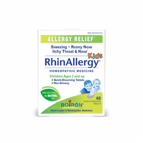 Boiron RhinAllergy Kids Allergy Relief Tablets Homeopathic Medicine Perspective: front