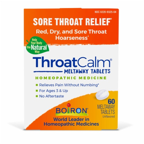 Boiron ThroatCalm Sore Throat Relief Meltaway Tablets Perspective: front