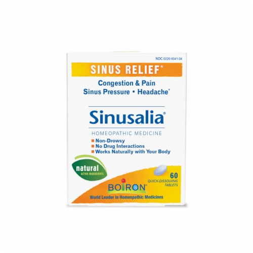 Boiron Homeopathic Sinusalia Congestion & Pain Sinus Relief Tablets 60 Count Perspective: front
