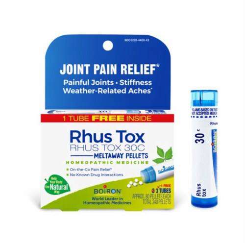 Boiron Rhus Tox 30c Joint Pain Relief Tablets, 3 Tubes Perspective: front