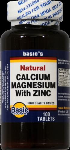 Basic Calcium Plus Magnesium and Zinc Vitamins Perspective: front