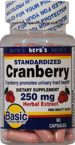 Basic Standardized Cranberry Extract Capsules 250mg Perspective: front