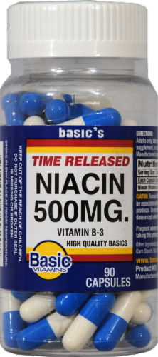 Basic Time Released Niacin Capsules 500mg Perspective: front
