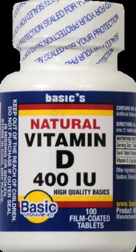 Basic Natural Vitamin D Tablets 400IU Perspective: front