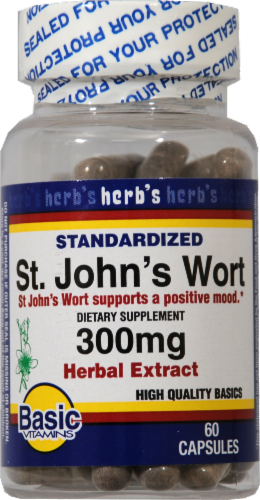 Basic St. John's Wort Extract Capsules 300mg Perspective: front