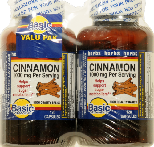 Basic Cinnamon Capsules Twin Pack 1000mg Perspective: front