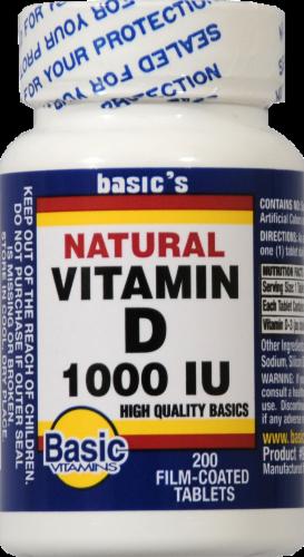 Basic Natural Vitamin D Capsules 1000IU Perspective: front