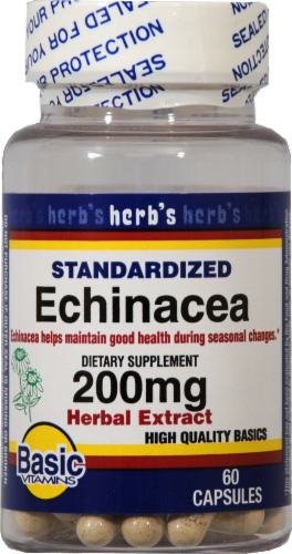Basic Standardized Echinacea Capsules 200mg Perspective: front
