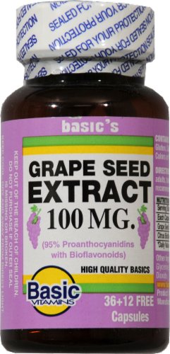 Basic Vitamins Grape Seed Extract 100mg Perspective: front