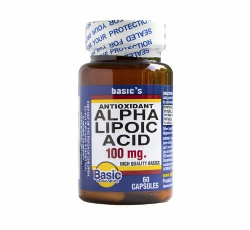 Basic Alpha Lipoic Acid Capsules 100mg Perspective: front