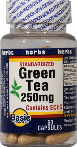 Basic Green Tea Capsules 250mg Perspective: front