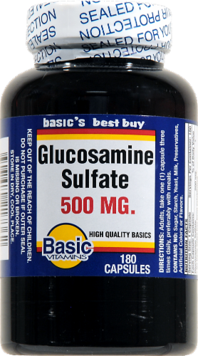 Basic Glucosamine Sulfate Capsules 500mg Perspective: front