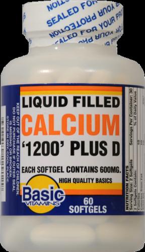Basic Liquid Filled Calcium Plus Vitamin D Softgels Perspective: front
