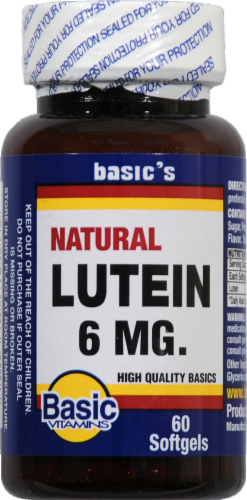 Basic Natural Lutein Softgels 6mg Perspective: front