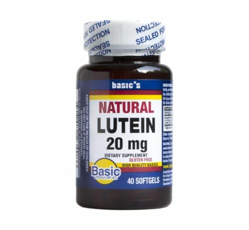 Basic Natural Lutein Softgels 20mg Perspective: front