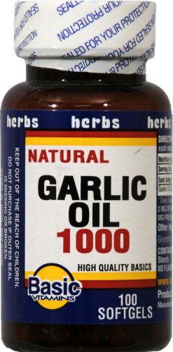 Basic Garlic Oil 1000 Softgels Perspective: front