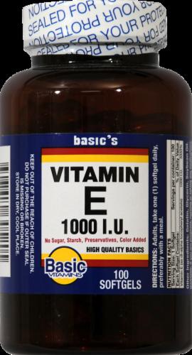 Basic Vitamin E Softgels 1000IU Perspective: front