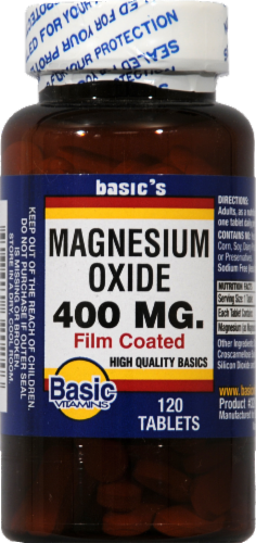 Basic Magnesium Oxide Tablets 400mg Perspective: front