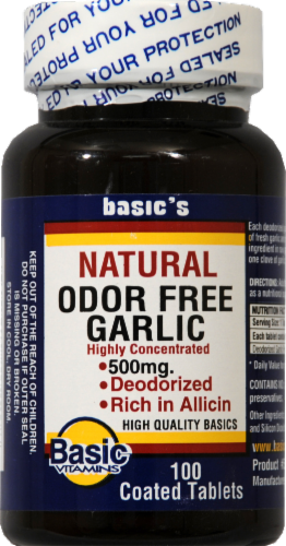 Basic Odorless Garlic Tablets 500mg Perspective: front
