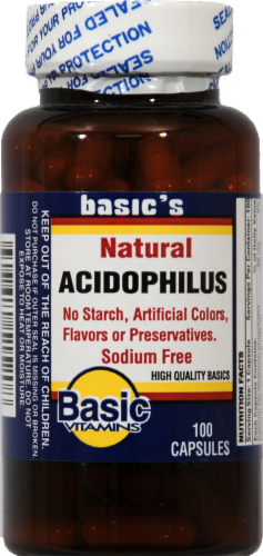 Basic Natural Acidophilus Capsules Perspective: front