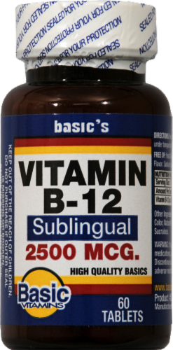 Basic Vitamin B-12 Sublingual Tablets 2500mcg Perspective: front