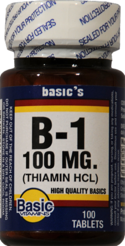 Basic Vitamin B-1 Tablets 100mg Perspective: front