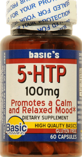 Basic 5-HTP 100mg Capsule Perspective: front