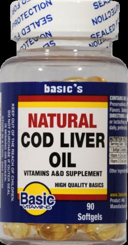 Basic Natural Cod Liver Oil Softgels Perspective: front