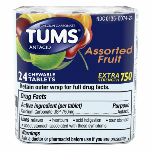 Tums Extra Strength Assorted Flavor Tablets Perspective: front